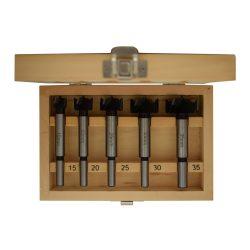 Forstner fúró készlet 5 részes készlet, fadobozban