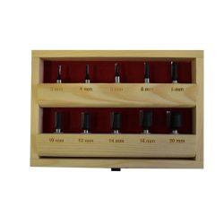 HM felsőmaró készlet 10 részes készlet, fadobozban