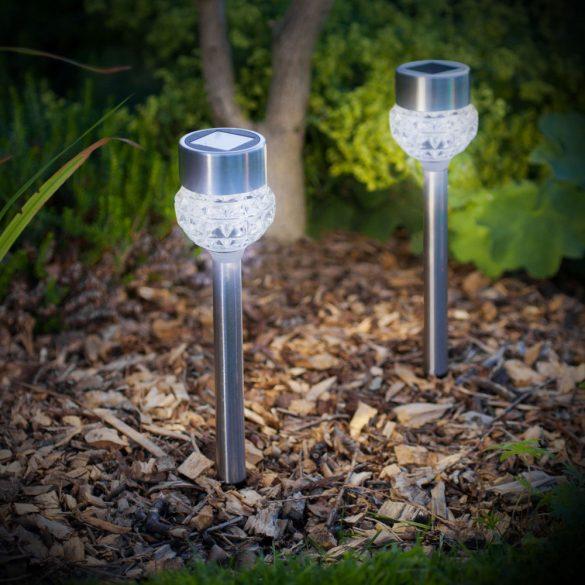 LED-es szolár lámpa - leszúrható - szálcsiszolt fém + üveg - 370 mm