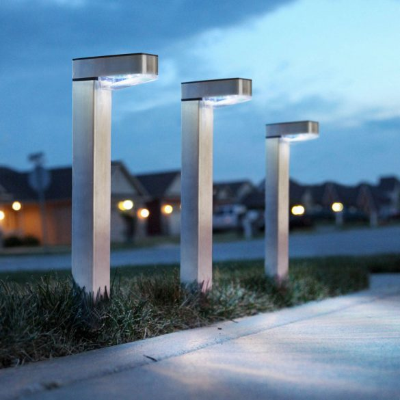 LED-es szolár lámpa - hidegfehér - szálcsiszolt - fém