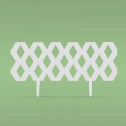 Virágágyás szegély / kerítés - 60 x 22 cm - fehér