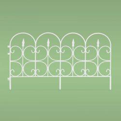 Virágágyás szegély / kerítés - 68 x 38 cm - fehér
