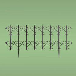 Virágágyás szegély / kerítés - 61 x 30 cm - fekete