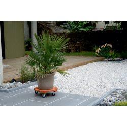 Lakkozott keményfa gurulós virágalátét, kerek - világosbarna, 40cm
