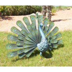 Színes páva figura fémből - zöld, 80 x 50cm