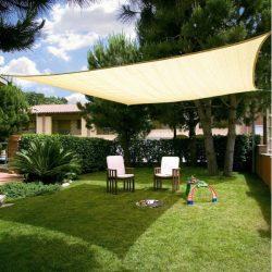 Extra erős, szőtt napvitorla (négyszög alakú), 5m x 5m - bézs