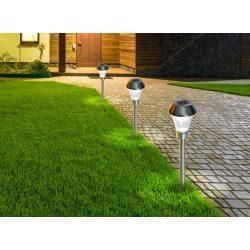 Leszúrható kerti lámpa - 3db/csomag, ezüst, átmérő: 8,5 x 31cm