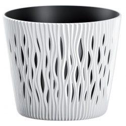 Flowerpot SANDY Round 190, 158x138 mm, white, insert