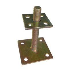 oszloptalp lecsavarozható szintezős 70 x 70 / 100 x 100 mm H150 mm M20 sárga horgany