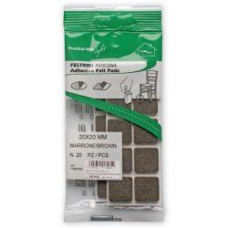 csúsztatófilc öntapadó  20x20 mm barna (20 db)