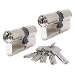 SB zárbetét  30/30mm  2db azonos zárlatú 5 kulcs nikkel