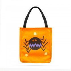 Halloween ajándéktáska - textil, pók, 18 x 22 cm
