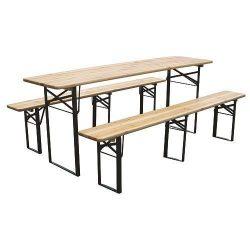 DORTMUND Max söröző készlet, asztal 220x70x77 cm, 2x pad 220x25x47 cm, fa 27 mm