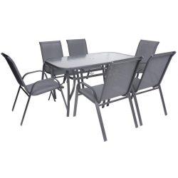 Set terrace EMILY, 1x table, 6x ShadowGray chair