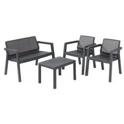Terrace set Allibert EMILY, graphite, table, 2x armchair, 1x double armchair
