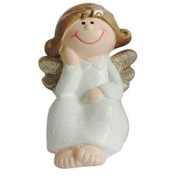 Character Xecco 12652, Sitting angel, polyresin, 11 cm