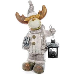 Decoration Xecco 8B028, Reindeer with lantern, magnesia, 41 cm