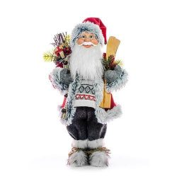 Decoration MagicHome, Santa with skis and wood, 080 cm