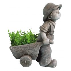Decoration Gecco 9066, Boy with trolley, magnesia, 47 cm