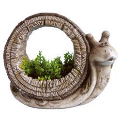 Decoration Gecco 9023, Snail / flowerpot, magnesia, 29 cm