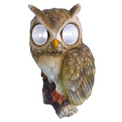 Decoration Gecco 7394, Owl with eyes, polyresin, 22 cm, solar LED