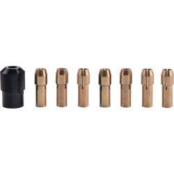 Befogó tokmány klt., 8 db, befogás: 1-1,6-2-2,3-3-2x3,2 mm, m8×0,75 mm, a 404120, 404121, 8892201 mini köszörűgéphez