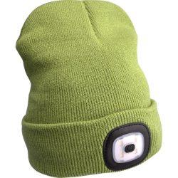 Sapka, zöld, kötött, kivehető led homloklámpával, 4×45 lumen; usb tölthető li-ion akku, 3 funkció (100%-75%-50% fényerő)