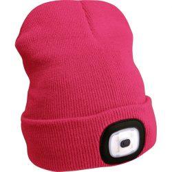 Sapka, pink, kötött, kivehető led homloklámpával, 4×45 lumen; usb tölthető li-ion akku, 3 funkció (100%-75%-50% fényerő)