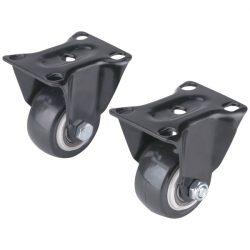 Készülékgörgő 2 db, fix, fekete pvc, 40mm, max. teherbírás: 30 kg/db