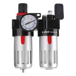 """Levegőelőkészítő (légszűrő nyomásszabályozóval, olajozóval ésmanométerrel),max.8bar,1/4"""",max.60°c,90ml szűrő&90mlolajzó"""