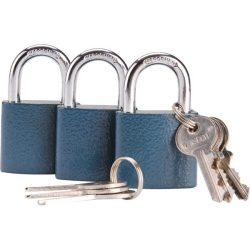 Biztonsági réz lakat klt., 38mm, 3 db lakat+6 db kulcs, univerzális kulcsok: egy kulcs jó mindhárom lakathoz