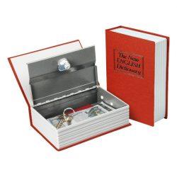 Pénzkazetta, könyv típusú, 2db kulccsal, változó színekben, festett acél, műanyag/papír borítás ; 180×115×54mm
