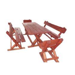 Rönk - X lábú asztalgarnitúra - mahagóni
