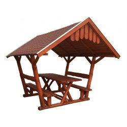 Rönk - Pavilon 2 x 3 m zsindely tetős - mahagóni
