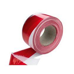 Kordonszalag (jelölőszalag) piros/fehér 75mmX250m 8db/karton