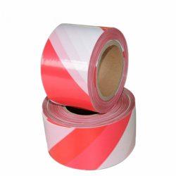 Kordonszalag (jelölőszalag) piros/fehér 75mmX100m 24db/karton