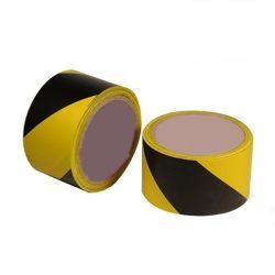 Kordonszalag (jelölőszalag) sárga/fekete 75mmX100m 24db/karton