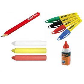 Kicsapózsinór, jelölőfilc, ceruza, kréta